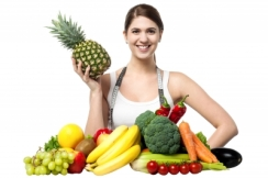 Beautiful Young Woman With Fruits And Vegetables by stockimages